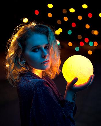 Selfie Ideen - Ideen zum Nachmachen mit Mondlampe