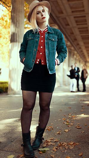 Herbst Outfit Damen Baseball Jacke
