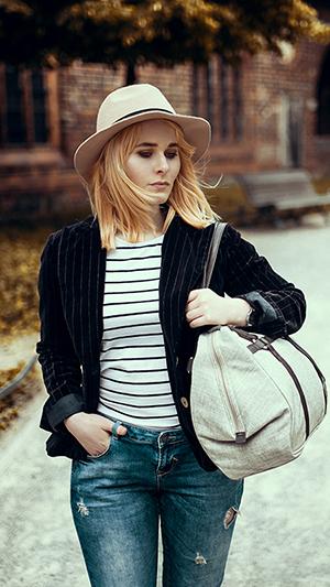 Herbst Outfit Damen Blazer mit Streifen