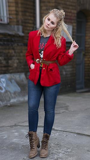 Herbst Outfit Damen Blazer rot
