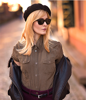 Herbst Outfit Damen Cordrock