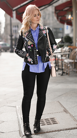 Herbst Outfit Damen Lederjacke Muster