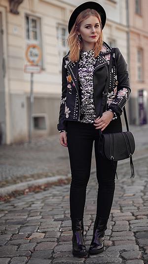 Herbst Outfit Damen Lederjacke