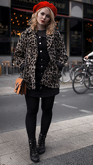 Herbst Outfit Damen Leoparden Mantel