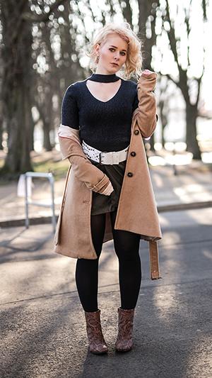 Herbst Outfit Damen Rock aus Leder