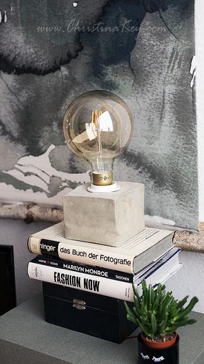 Zimmer einrichten Gemütliche Ideen DIY Beton Lampe