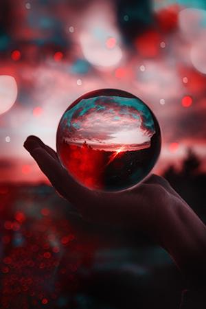 Glaskugel Fotografie Ideen Abendsonne