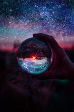 Glaskugel Fotografie Ideen Sternenhimmel